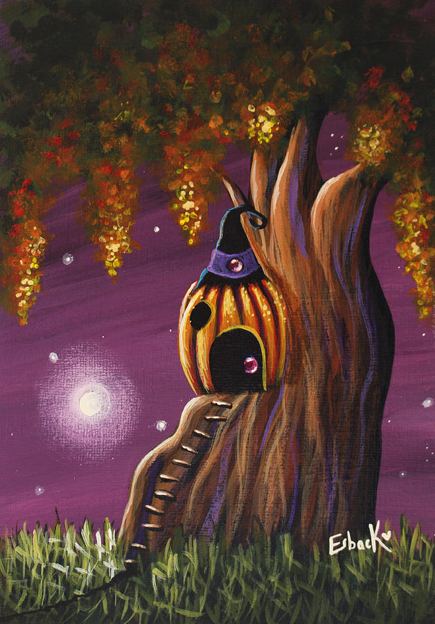 cottage in the woods original pumpkin artwork painting by artisan