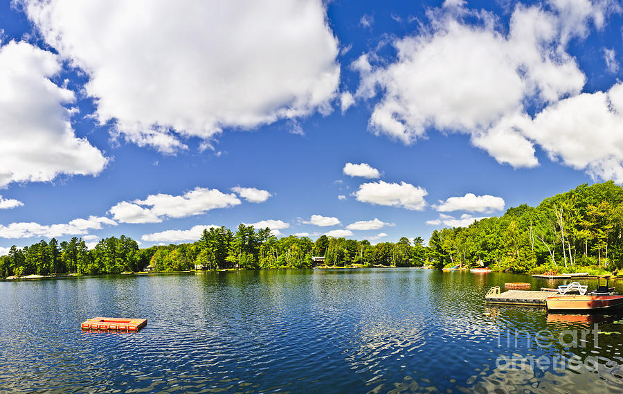 Dock Photograph - Cottage Lake With Diving Platform And Dock by Elena Elisseeva