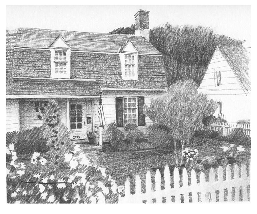 Cottage Pencil Portrait Drawing by Mike Theuer