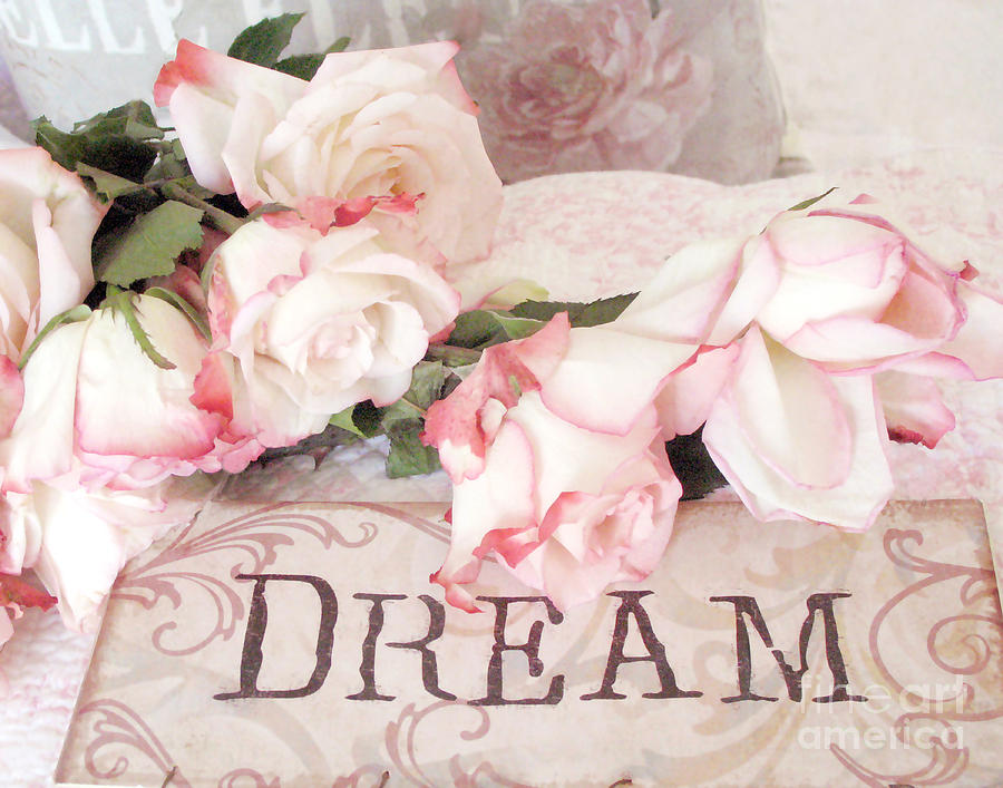 cottage shabby chic roses typography dream pink roses with dream words photograph by kathy fornal. Black Bedroom Furniture Sets. Home Design Ideas