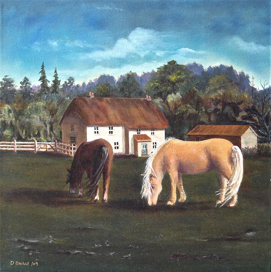 Landscape Painting - Cottage With Shetland Ponies by Diane Daigle