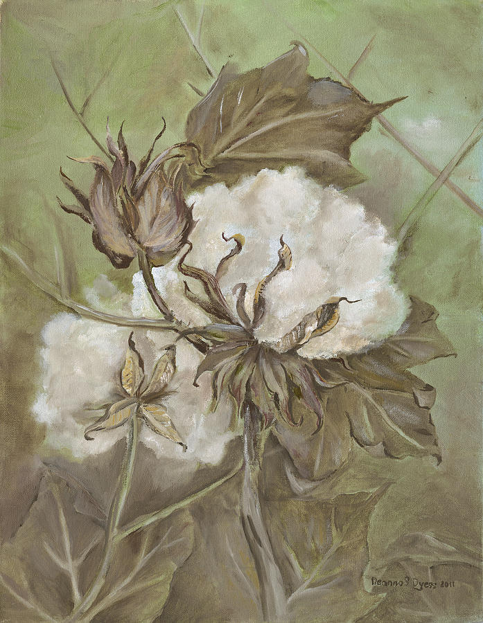 Cotton Painting - Cotton Bolls by Deanna Sue Dyess