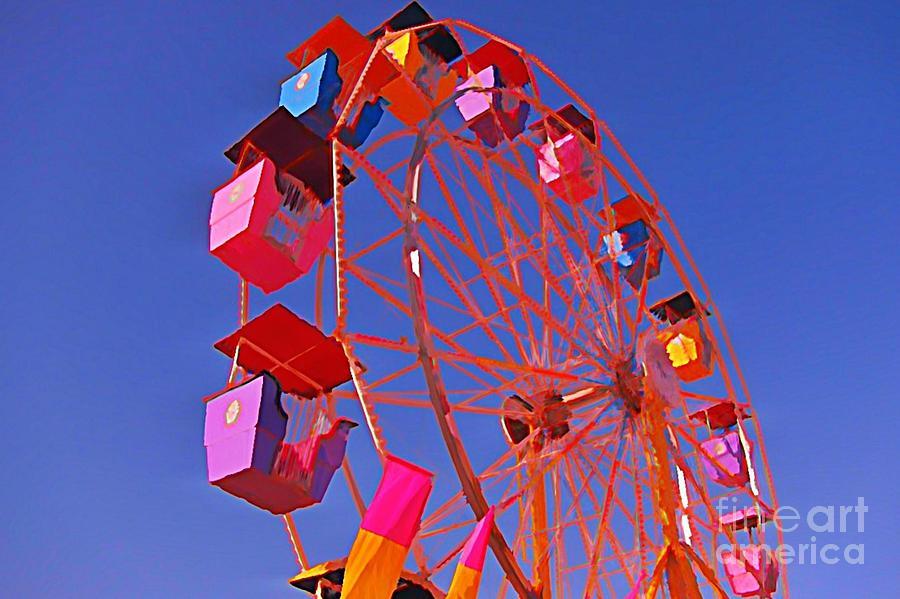 Ferris Wheel Paintings Painting - Cotton Candy Ferris Wheel by John Malone