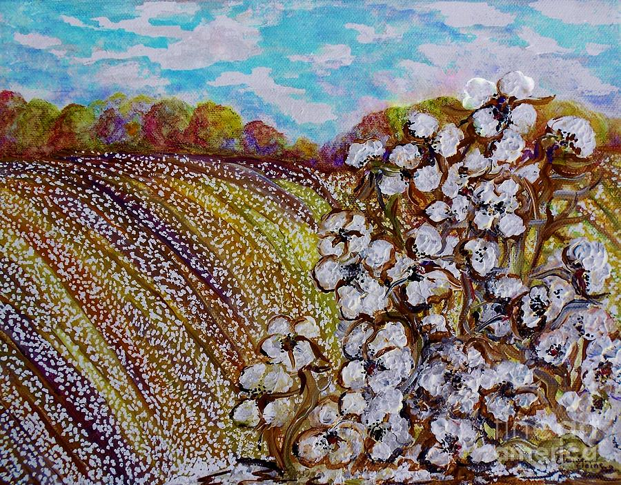 Cotton Painting - Cotton Fields In Autumn by Eloise Schneider
