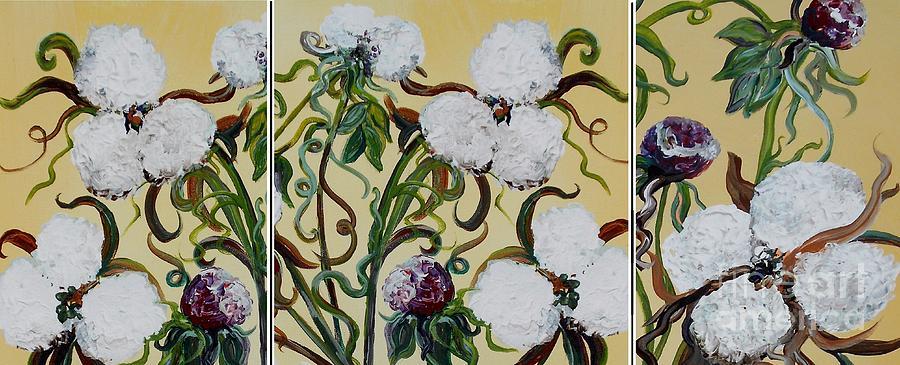 Triptych Painting - Cotton Triptych by Eloise Schneider
