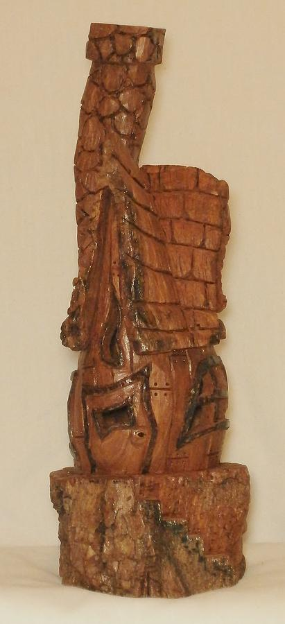 Cottonwood Bark House In The Round Sculpture by Russell ...