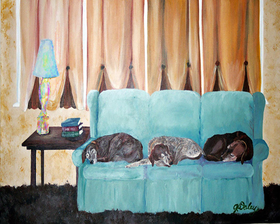 Dogs Painting - Couch Potatoes by Gail Daley