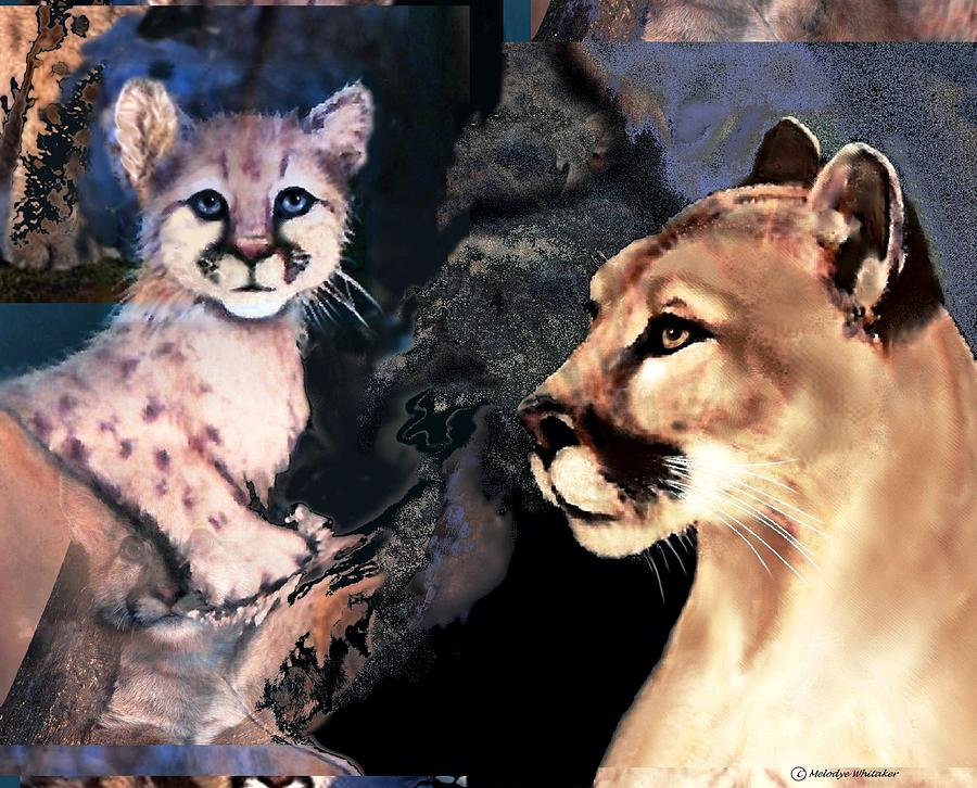 Cougar Digital Art - Cougar And Babe by Melodye Whitaker