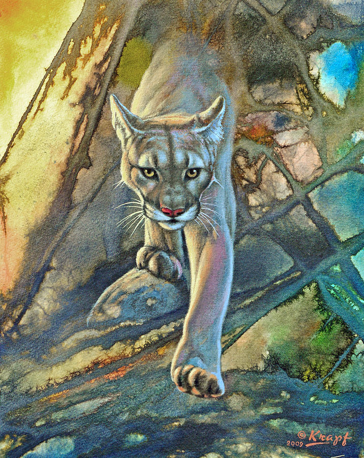 'Cougar in Abstract' Painting by Paul Krapf