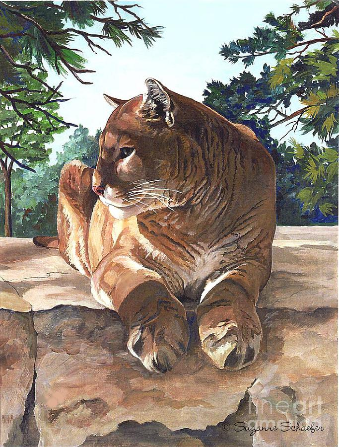 Cougar Painting - Cougar Outlook by Suzanne Schaefer