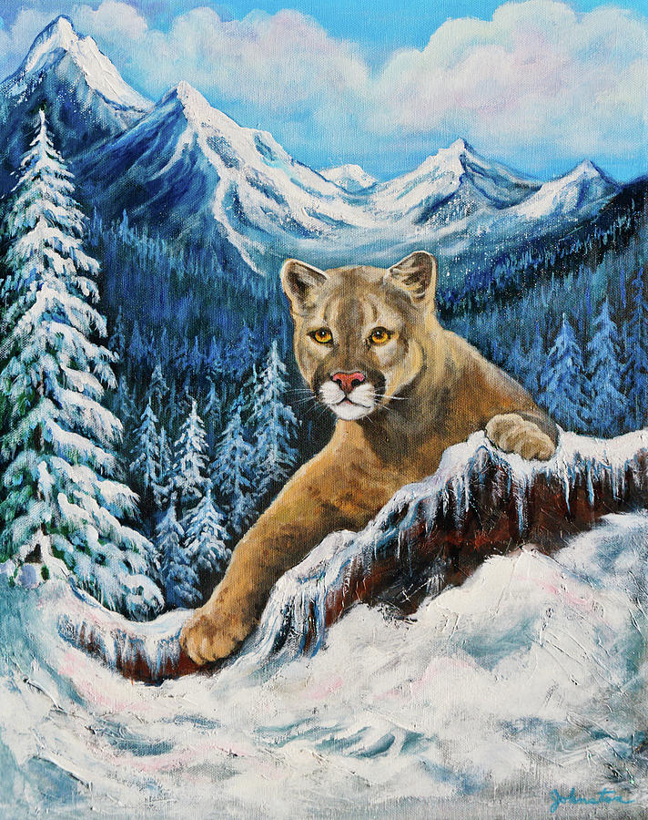 Mountain Lion Painting - Cougar Sedona Red Rocks  by Bob and Nadine Johnston