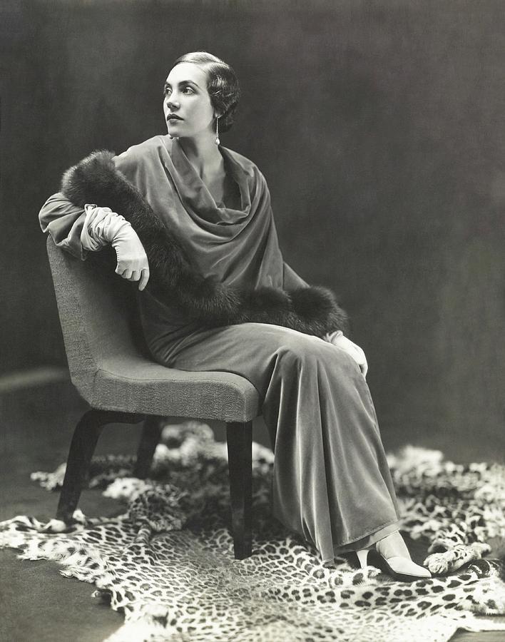 Countess Celani Lepri Wearing A Velvet Dress Photograph by George Hoyningen-Huene
