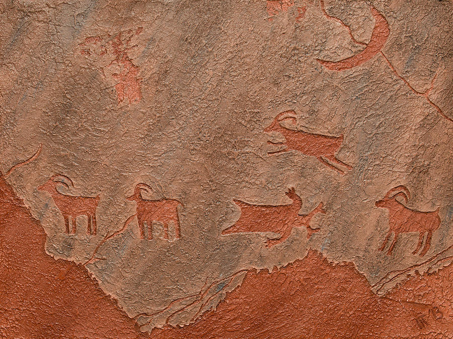Petroglyph Relief - Counting Sheep by Katie Fitzgerald