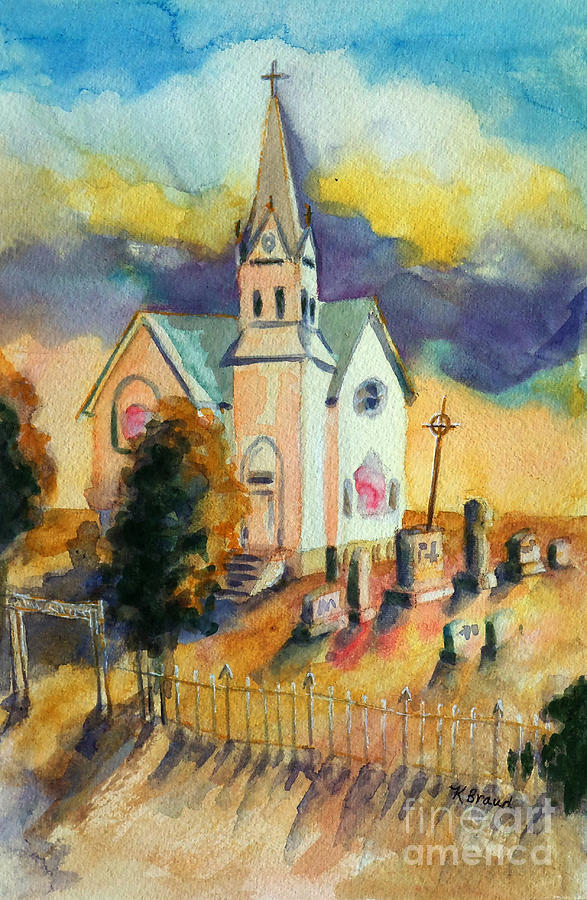 Country Church At Sunset Painting By Kathy Braud