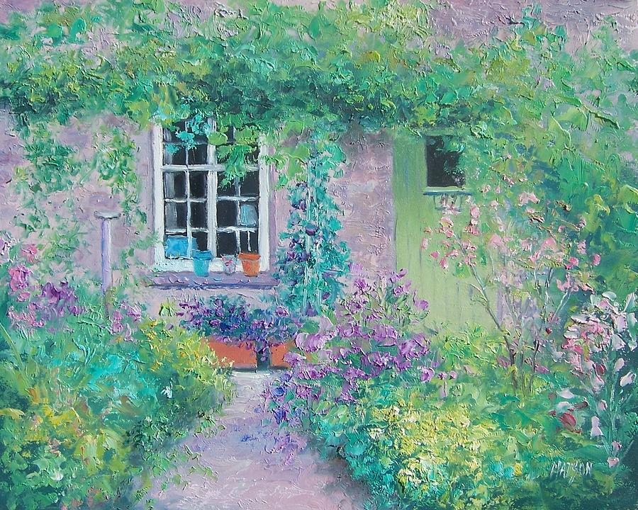 Cottage Garden Painting - Country Cottage by Jan Matson