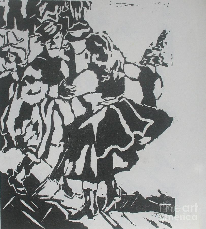 Lenoleum Cut Mixed Media - Country Dance by PainterArtist FIN