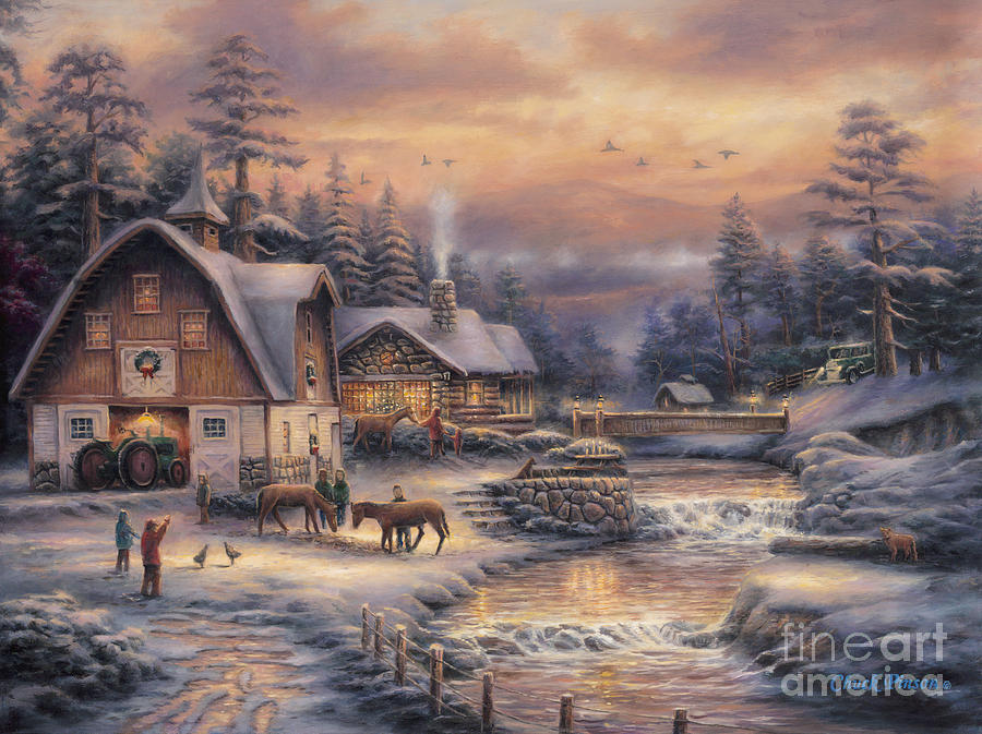 Winter Farm Painting - Country Holidays 2 by Chuck Pinson