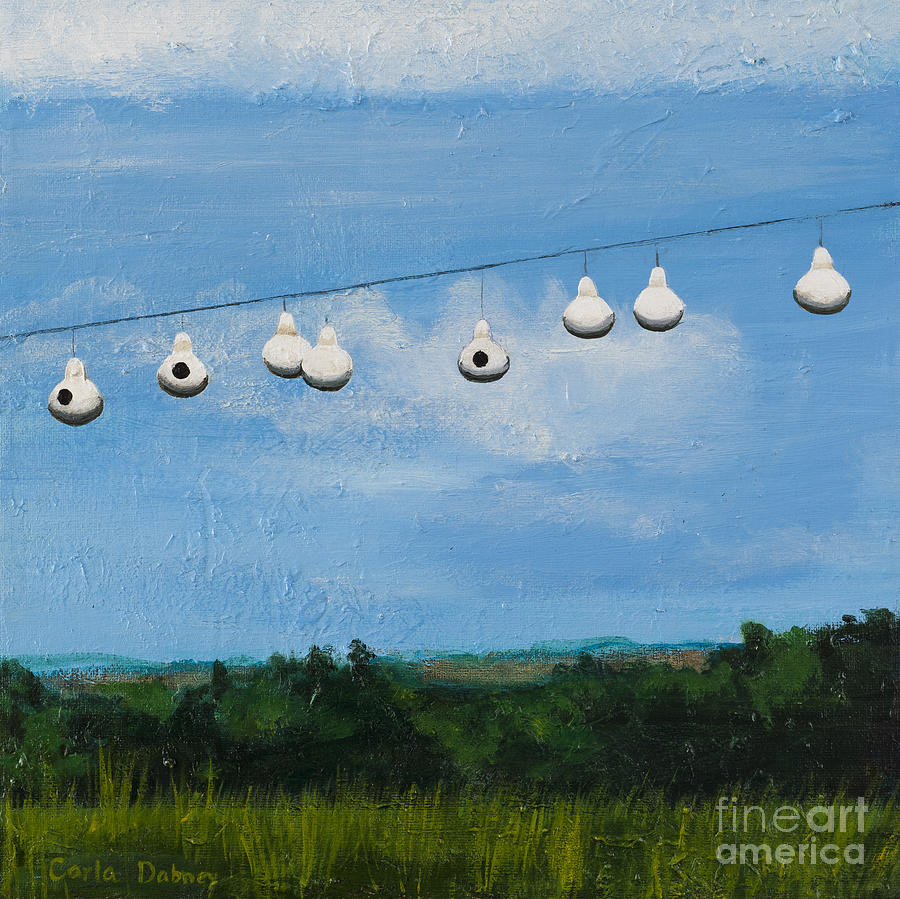 Bird House Painting - Country home. Nice view. by Carla Dabney