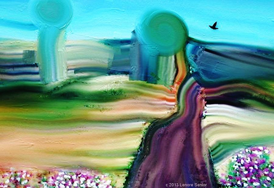 Expressive Mixed Media - Country Lane by Lenore Senior