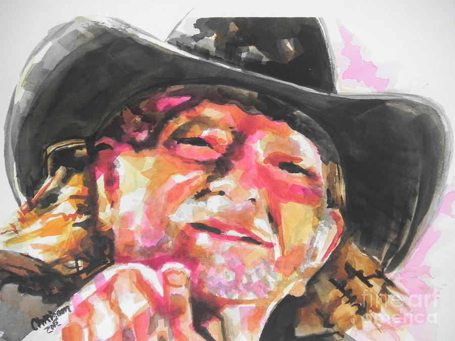 Watercolor Painting Painting - Country Music Artist...willie Nelson by Chrisann Ellis