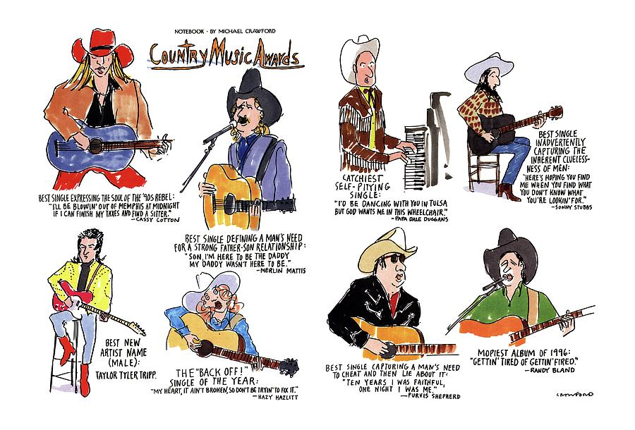 Country Music Awards Drawing by Michael Crawford