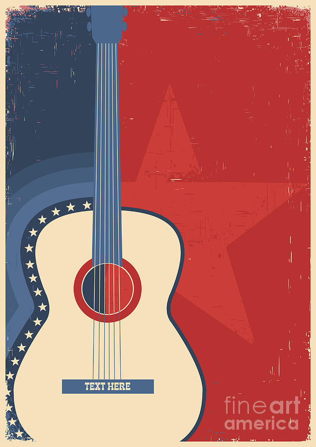 Play Digital Art - Country Music Poster With Guitar On Old by Tancha
