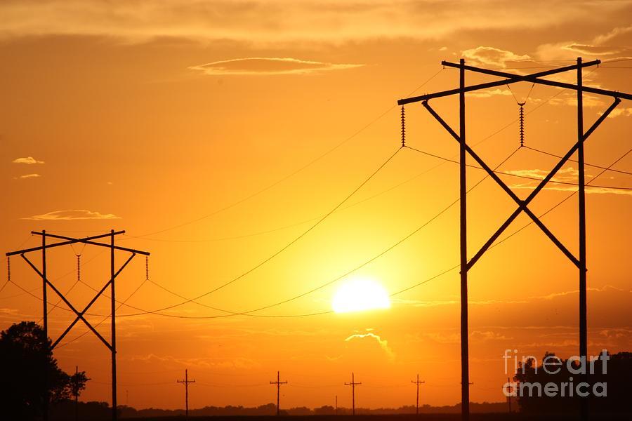Sun Photograph - Country Powerlines by Robert D  Brozek