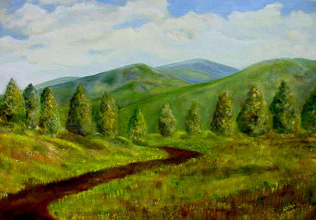 Mountains Painting - Country Road by Laura Corebello