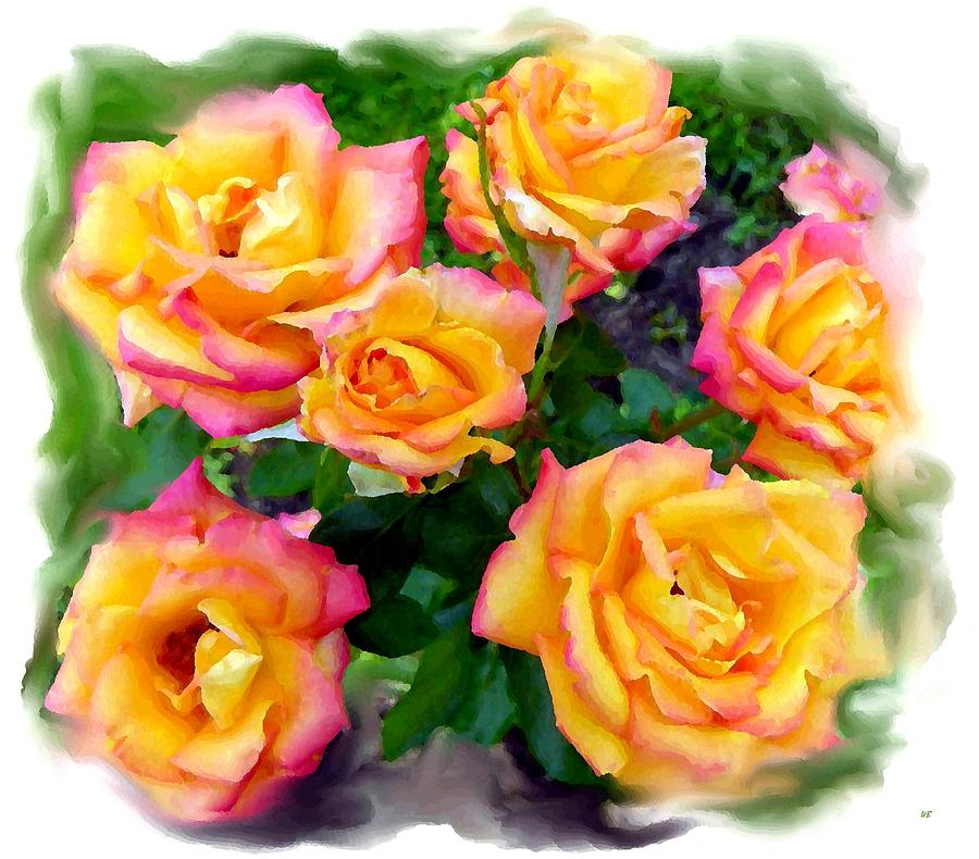 Floral Digital Art - Country Roses Watercolor by Will Borden