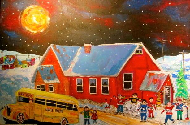 Old School Bus Painting - Country Schoolyard Memories by Michael Litvack