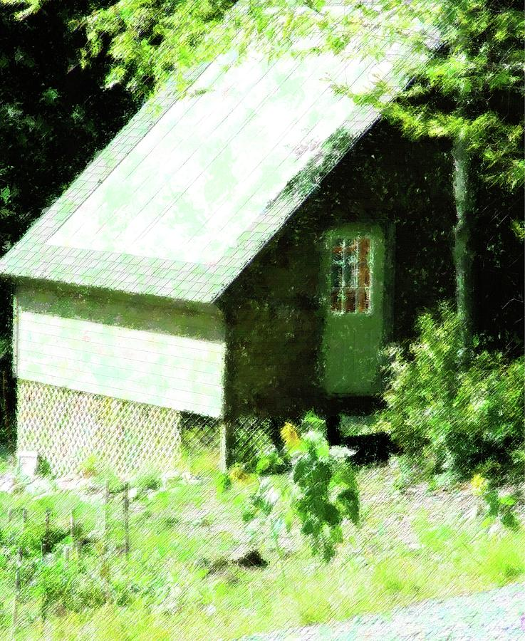 Rural Mixed Media - Country Shed by Florene Welebny