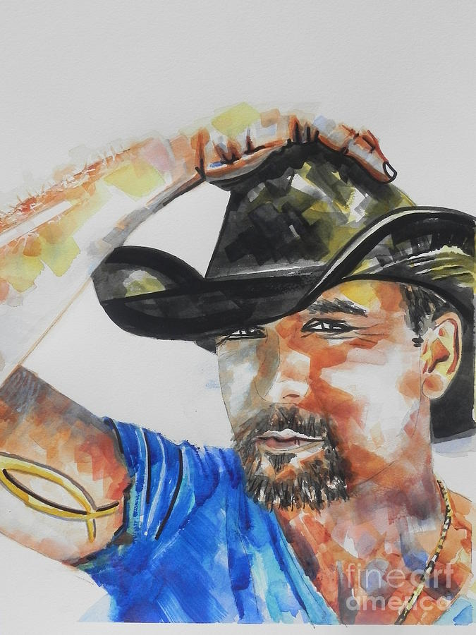 Watercolor Painting Painting - Country Singer Tim Mcgraw 02 by Chrisann Ellis