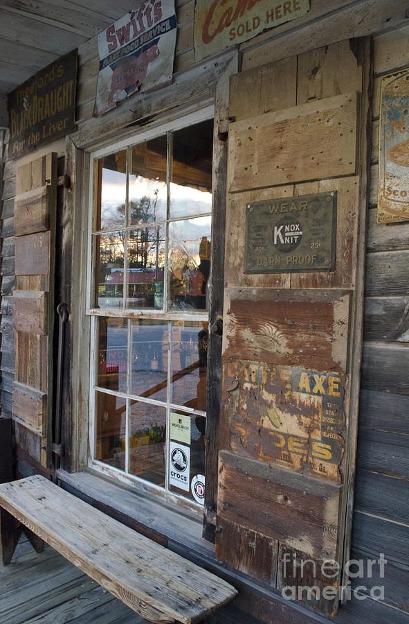 Aged Photograph - Country Store Reflections  by Debra Johnson