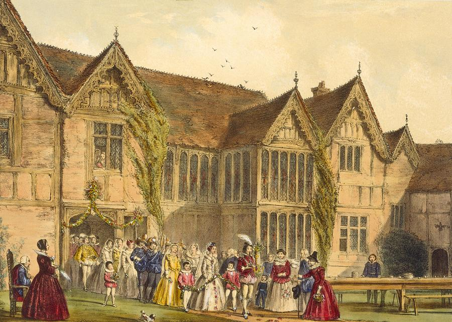 Medieval Drawing - Country Wedding, Ockwells Manor by Joseph Nash