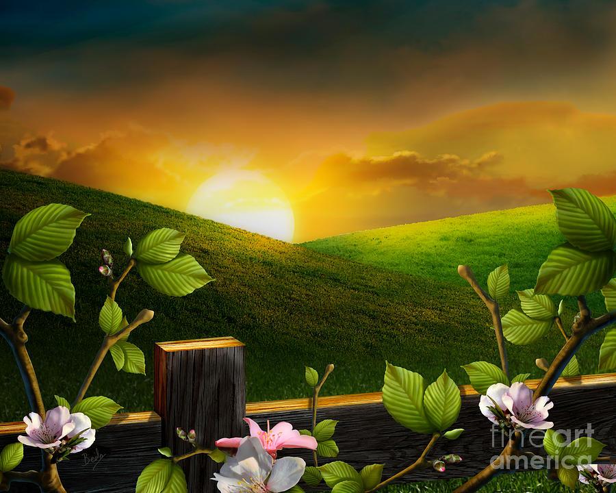 Landscape Digital Art - Countryside Sunset by Peter Awax