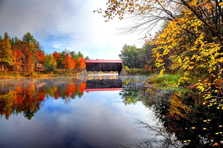 County Covered Bridge in New Hampshire Photograph by DenisTangneyJr
