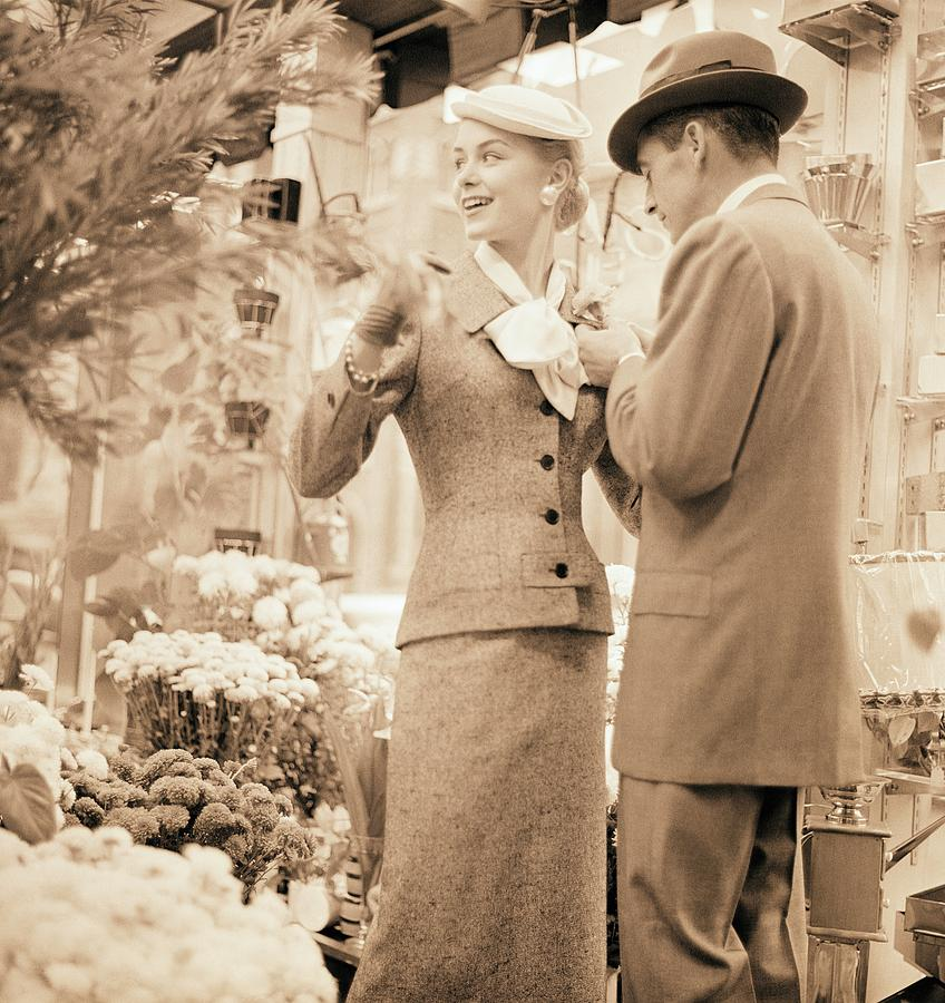 Couple At Flower Market Photograph by Horst P. Horst