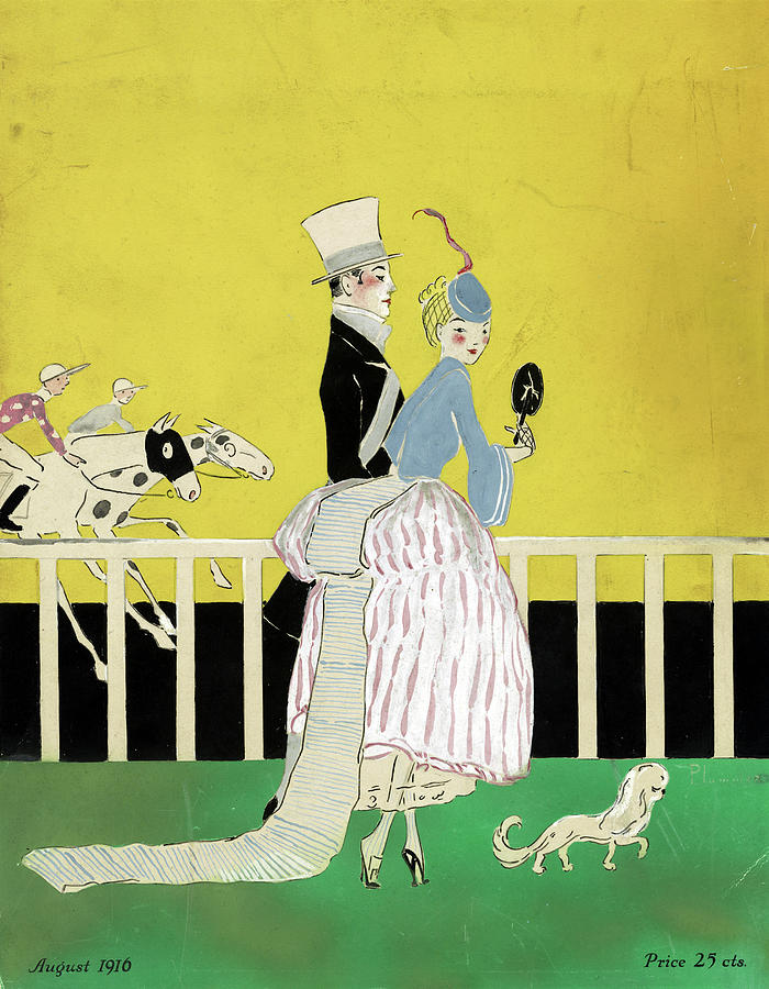 1916 Drawing - Couple At The Races, 1916 by Granger