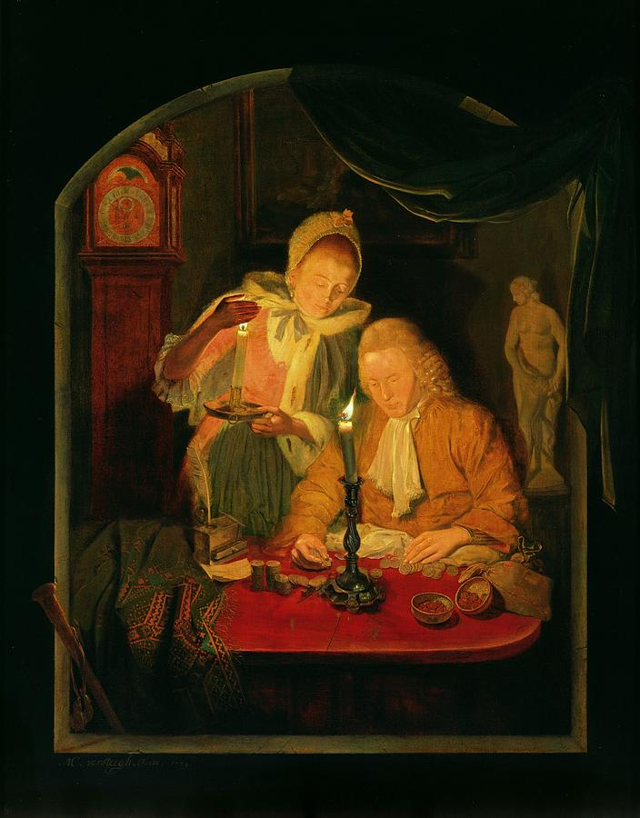 Interior Photograph - Couple Counting Money By Candlelight, 1779 Panel by Michiel Versteegh