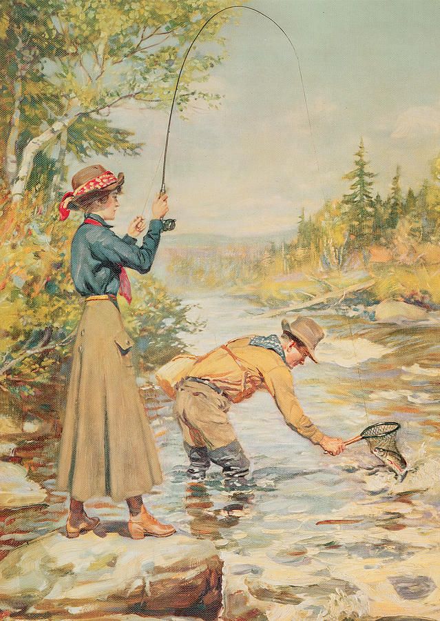Wade Painting - Couple Fishing On A River by Anonymous