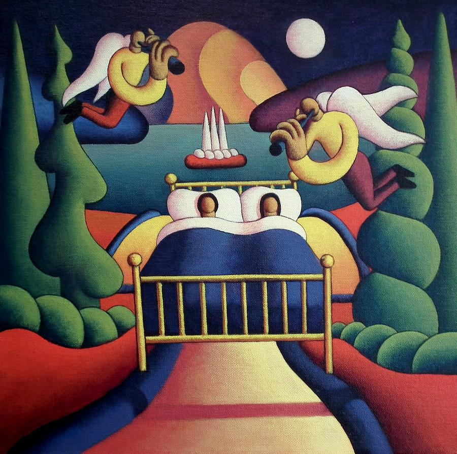 Couple in bed in landscape with angels by Alan Kenny
