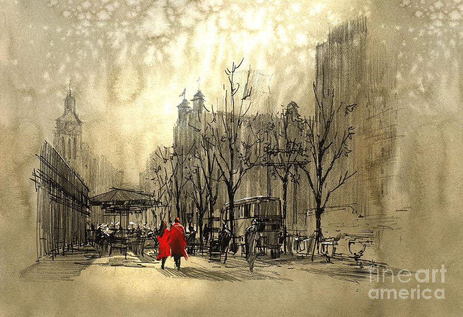 Date Drawing - Couple In Red Walking On Street Of by Tithi Luadthong