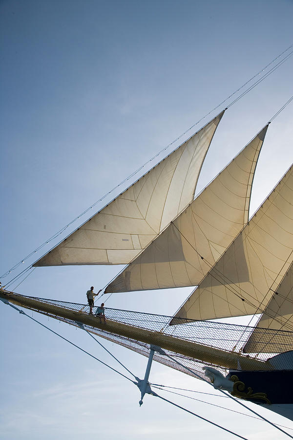 Couple On Bowsprit Of Royal Clipper Photograph by Holger Leue