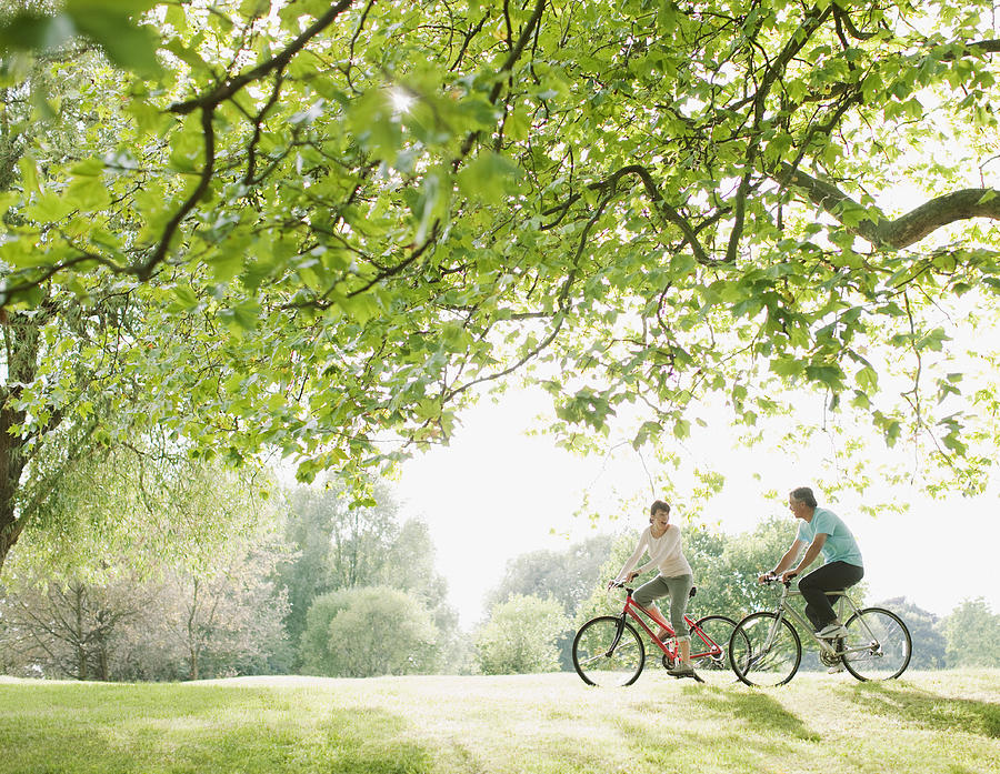 Couple riding bicycles underneath tree Photograph by Tom Merton