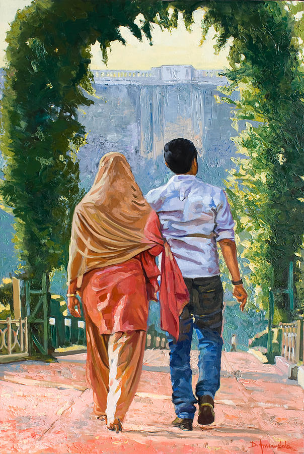 Outdoors Painting - Couple Under The Leafy Arch by Dominique Amendola