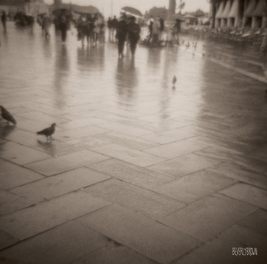 Sepia Photograph - Couple Walking in the Rain San Marco by Beverly Brown