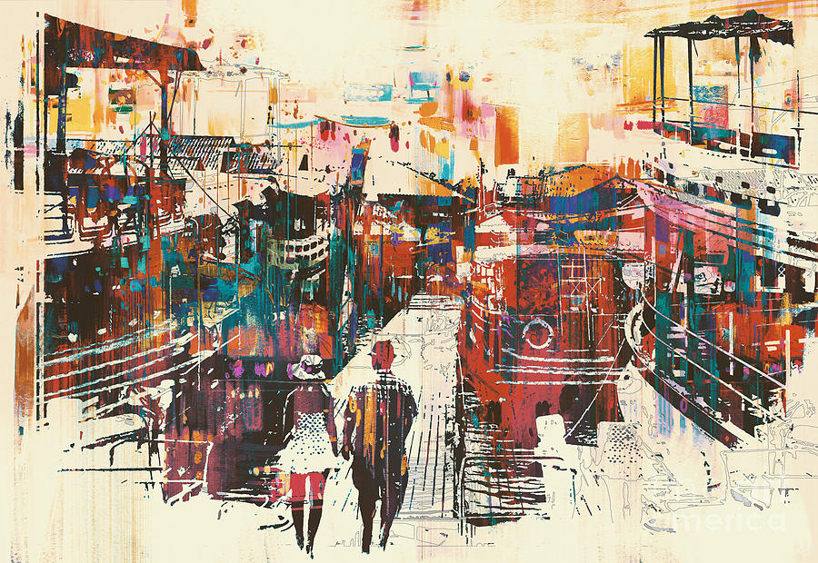 Couple Digital Art - Couple Walking On Harbor Pier by Tithi Luadthong