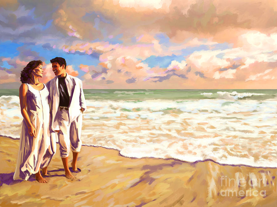 Couple Walking Together On The Beach Painting By Tim Gilliland