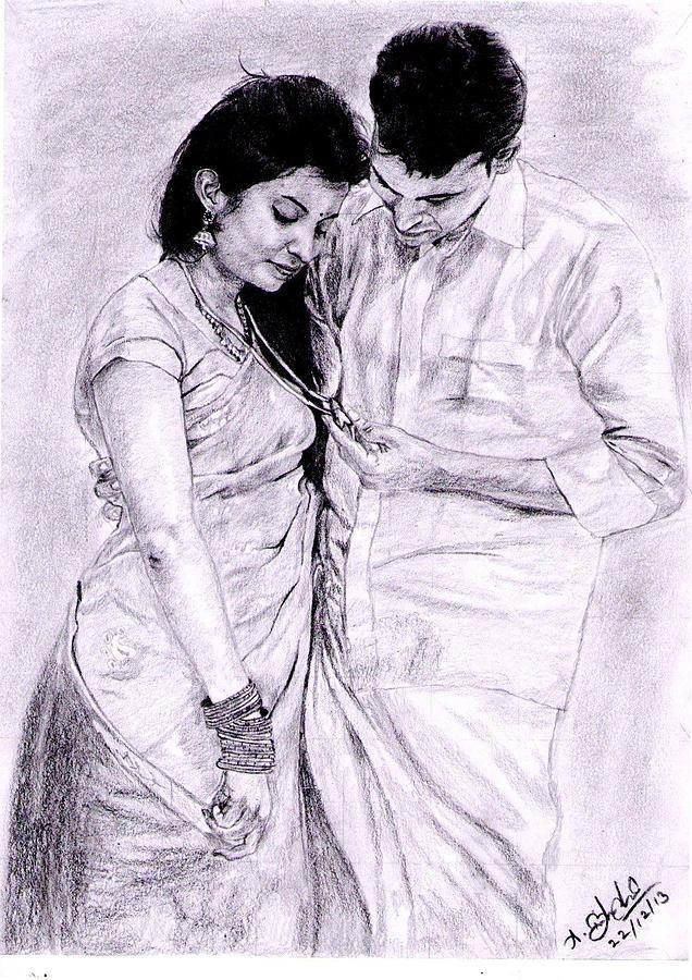 couples drawing by balachandar asokan