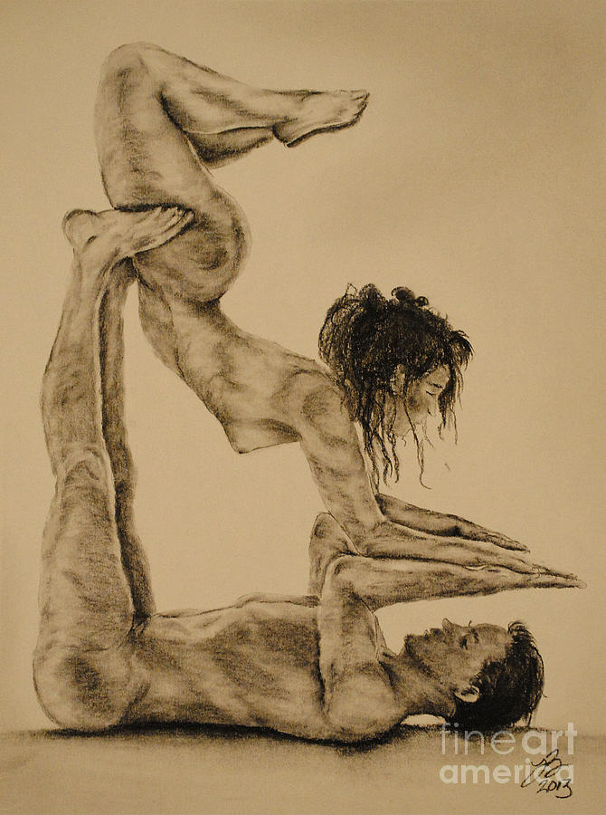 couples yoga pose 4 drawing by tim brandt